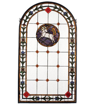 23''W X 40''H Lamb of God Stained Glass Window (96|17367)