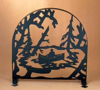 30''W X 30''H Canoe At Lake Arched Fireplace Screen (96|22387)