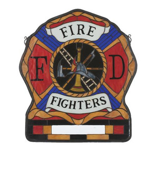 20''W X 23''H Personalized Fireman's Shield Stained Glass Window (96|19000)