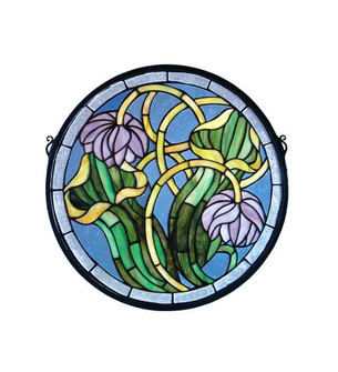 17''W X 17''H Pitcher Plant Medallion Stained Glass Window (96|11093)