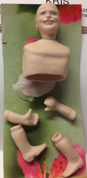 Dollhouse Miniature - Porcelain Doll Kit - Kris 1 - Unpainted Boots - 1:12 Scale