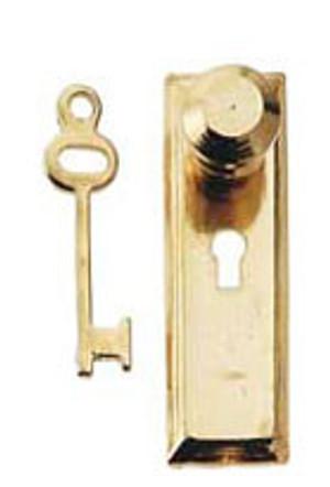 CLA05528 - Brass Knob/Key Plate - 2pc/pkg - (HW1114)
