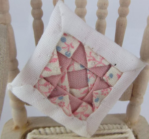 Dollhouse Miniature - ALS220HP - Alice Lacy - Quilted Cushion - Pink/White