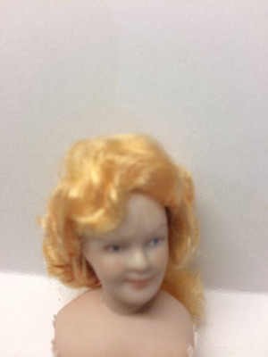 Dollhouse Miniature Porcelain Doll Wig - Belle Red Gold  - Wig