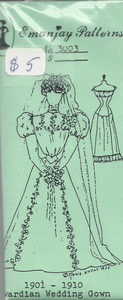 3003 -1901-1910 Edwardian Wedding Gown- Emanjay Sewing Pattern