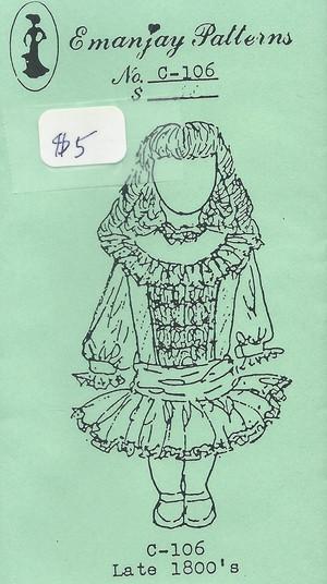 Dollhouse Miniature Sewing Pattern - C106 - Late 1800's Girl - Emanjay Sewing Pattern