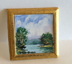 Dollhouse Miniatures - 311425 - Painting - OOAK Hand Painted - Trees & River - Antique Gold Frame