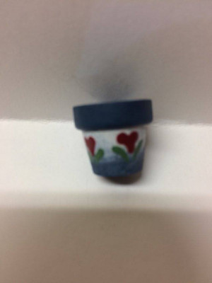 Dollhouse Miniature - 3805 - Flower Pot - Blue