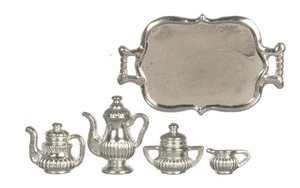 D0158 - SILVER TEA SET/TRAY