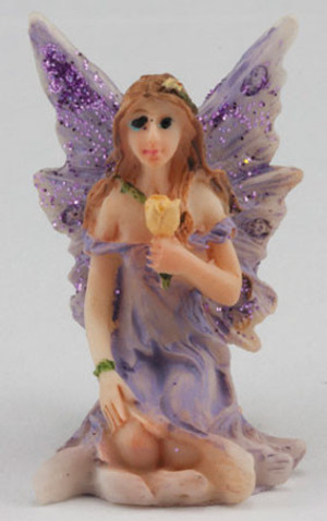 Fairy Garden - DDL1236 - Small Fairy Sitting - Purple Dress