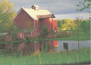 Dollhouse Miniature - Painting - No Frame - Red Barn in Summer