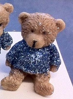 Dollhouse Miniature - 5123 - Bear - Pale Blue Sparkle Top -Sitting- 4 cm