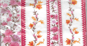 "2933 - Fabric:  Flannel - Pink Stripe Floral - 11"" x 8.5"""