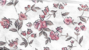 "2925 - Fabric:  White Peach & Tan Flower - 7.5"" x 12"""