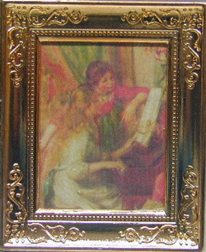 Dollhouse Miniature - RA0193 - Painting - 2 GIRLS - METAL FRAME