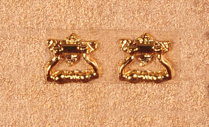 Dollhouse Miniature - KNOCKER AND PULL - GOLD PLATED - Pkg/2- S3078B