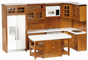 Dollhouse Miniature T6725 - Kitchen Cabinet & Appliance Set - Walnut