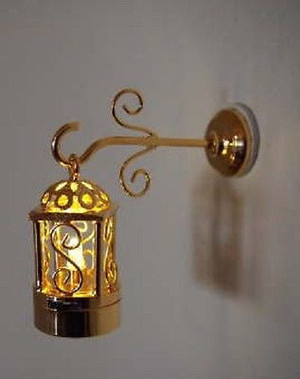 Dollhouse Miniature - Battery LED - W3 - Two Piece Brass Coach Wall/Ceiling Lamp