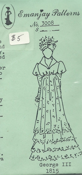 3008 - 1815 George III Dress - Emanjay Sewing Pattern