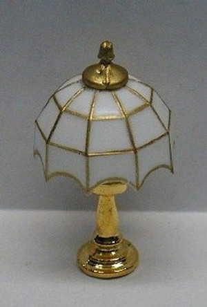 Dollhouse Miniature - RA0110 - NON Working - White Tiffany Table Lamp