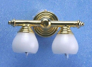 Dollhouse Miniature - MH45132 - BRASS DOUBLE WALL LAMP With WHITE SHADE 12V