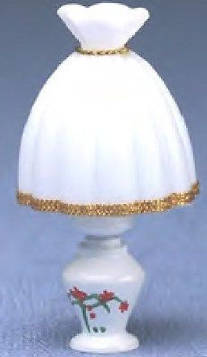 Dollhouse Miniature - MH663 - Miniature Table Lamp - Floral base, white shade