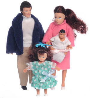 Dollhouse Miniature  - AZ00020 - Doll Family - Brunette - Set/4