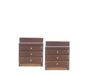 Dollhouse Miniature - T6813 - Night Stand - Walnut - Set/2