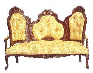P6026 - Rococo Sofa - Gold & Walnut