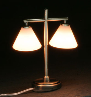 Dollhouse Miniature - MH45154 - Modern Table Lamp with 2 Down Shades Pewter - 12 v