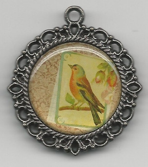Dollhouse Miniature - 70 - Picture in Round Frame - Bird