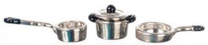 "Dollhouse Miniature - G8170 - 1/2"" Scale - Aluminium Casserole/Pot Set - Set/5"