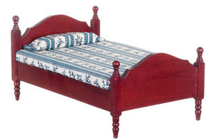 Dollhouse Miniature - T3276 - Single Bed - Mahogany