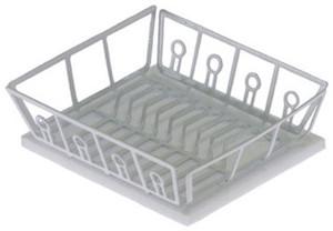 Dollhouse Miniature - IM65266 - White Dish Drainer with Mat