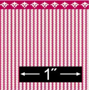 """Dollhouse Miniature - Wallpaper - 1/2"""" Scale- BPHAM101R - Ticking - Red"""