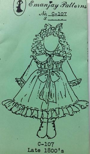 Dollhouse Miniature Sewing Pattern - C107 - Late 1800's Girl - Emanjay Sewing Pattern