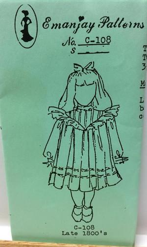 Dollhouse Miniature Sewing Pattern - C108 - Late 1800's Girl - Emanjay Sewing Pattern