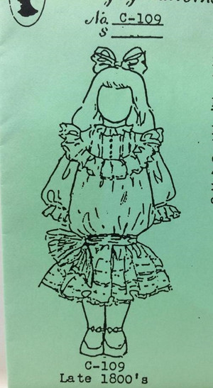 Dollhouse Miniature Sewing Pattern - C109 - Late 1800's Girl - Emanjay Sewing Pattern