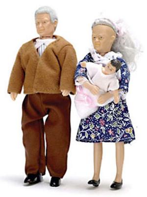 Dollhouse Miniature -AZ00070 - Grandparents with Baby - Set/3