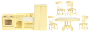Dollhouse Miniature - T0142 - Kitchen Cabinet & Appliance Set - Set/8 - Cream