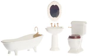 Dollhouse Miniature -T5226 - Porcelain Bathroom Set/4 - White