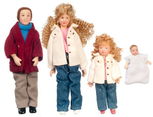 Dollhouse Miniature - G7634 - Porcelain Doll Family - Set/4 - Blonde Hair