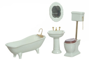 T5364 - Porcelain Bathroom Set/4 - White