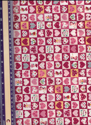 "2928 - Fabric:  White with Red - Hearts and Girls  - 10"" x 21"""
