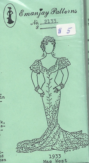 2133 -1933 Mae West Gown- Emanjay Sewing Pattern