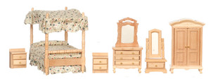 T0235 - 1:24 Scale Canopy Bed Room Set - Oak