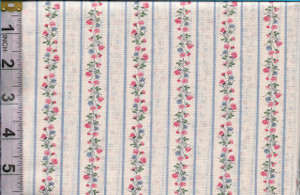 4190128 - Fabric: Cream with Blue Stripe, Pink & Blue Flowers