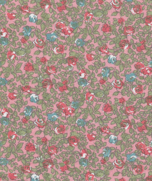 "4190120 - Fabric: Peach with Red and Blue Floral - 10"" x 10"""