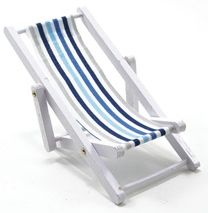 IM65338 - Beach Chair - White and Blue Fabric