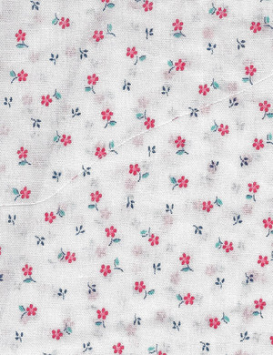 4190125 - Fabric:  White with Red Flowers
